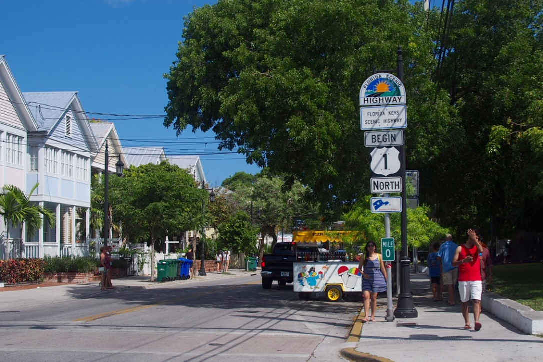 Key West Florida scenic highway 0 starting point